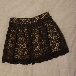 Black lace overlay skater mini skirt
